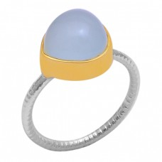 Round Shape Aqua Chalcedony Gemstone 925 Sterling Silver Gold Plated Ring