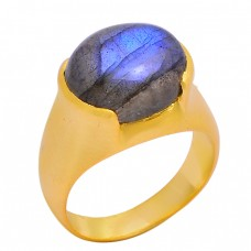 Cabochon Oval Labradorite Gemstone 925 Sterling Silver Gold Plated Ring