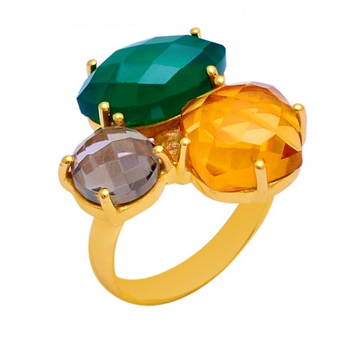 Green Onyx Citrine Smoky Quartz Gemstone 925 Sterling Silver Ring Jewelry