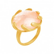 Round Shape Rose Quartz Gemstone 925 Sterling Silver Gold Plated Designer Ring