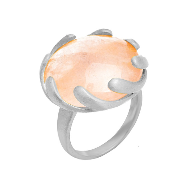 Round Shape Rose Quartz Gemstone 925 Sterling Silver Gold Plated Designer Ring