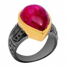 Pear Shape Ruby Gemstone 925 Sterling Silver Black Rhodium Ring Jewelry