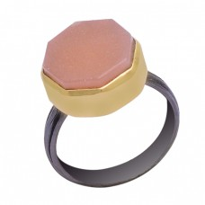 Six Corner Shape Chalcedony Gemstone 925 Sterling Silver Black Rhodium Ring