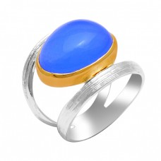 Oval Shape Blue Chalcedony Gemstone 925 Solid Silver Gold Plated Ring