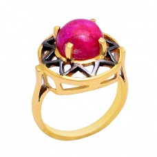 925 Sterling Silver Round Shape Ruby Gemstone Gold Plated Ring Jewelry