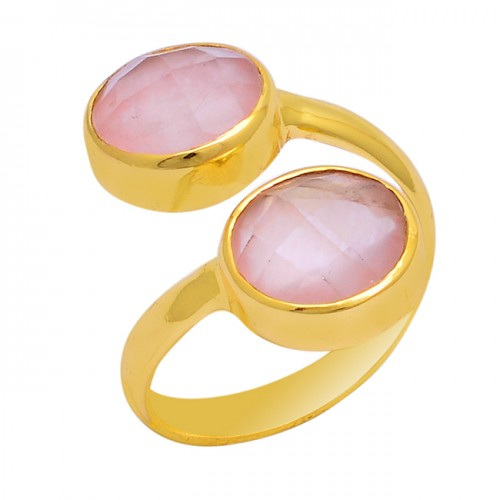 Round Shape Pink Quartz Gemstone 925 Sterling Silver Gold Plated Ring