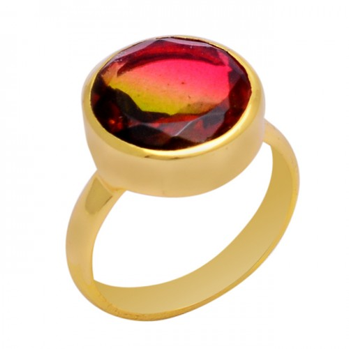 Round Shape Tourmaline Doublet Quartz Gemstone 925 Silver Ring Jewelry