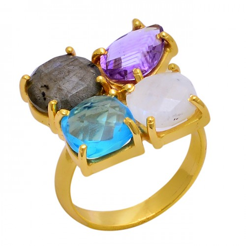 Prong Setting Round Sqaure Pear Shape Gemstone 925 Silver Gold Plated Ring