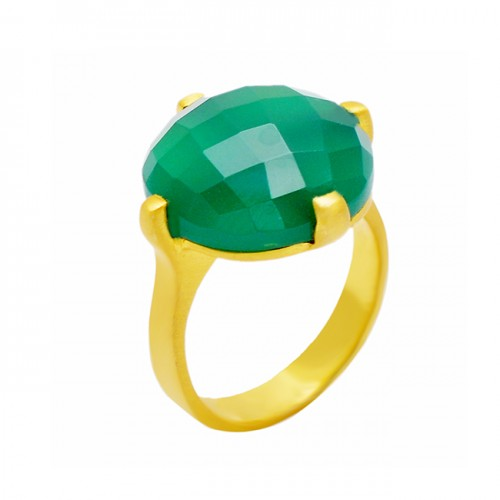 Round Shape Green Onyx Gemstone 925 Sterling Silver Gold Plated Ring Jewelry