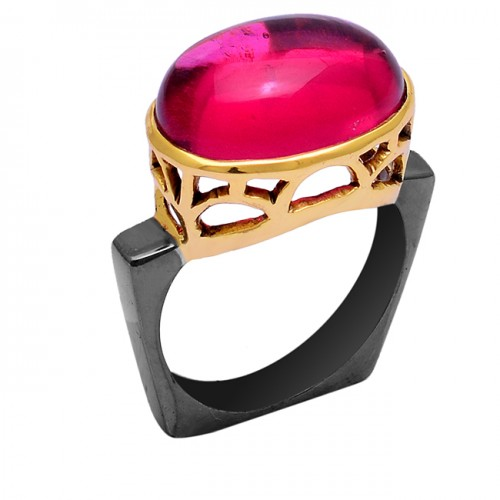 Pink Tourmaline Quartz Gemstone 925 Sterling Silver Black Rhodium Ring