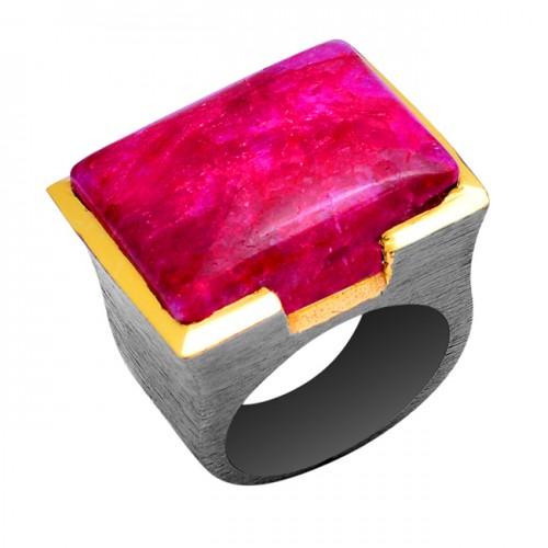 Rectangle Shape Ruby Gemstone 925 Sterling Silver Black Rhodium Ring