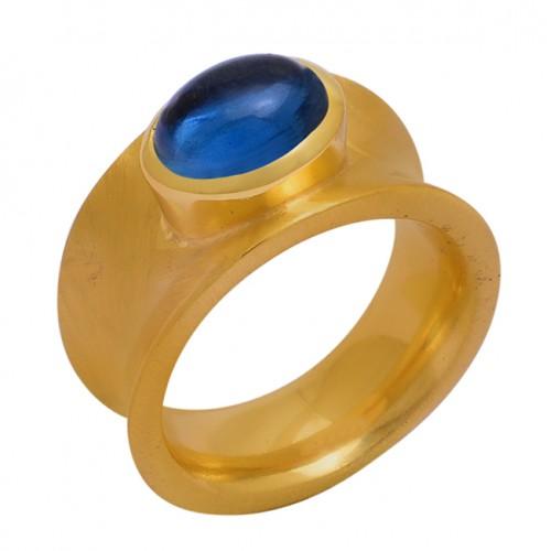 Oval Shape Tanzanite Quartz Gemstone 925 Sterling Silver Gold Plated Ring