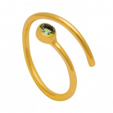 Round Shape Peridot Gemstone 925 Sterling Silver Gold Plated Designer Ring