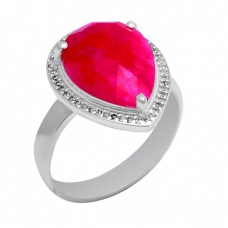 Pear Shape Ruby Gemstone 925 Sterling Solid Silver Ring Jewellery