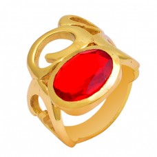 Oval Shape Fanta Quartz Gemstone 925 Sterling Silver Gold Plated Ring