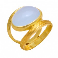 925 Sterling Silver Oval Shape Aqua Chalcedony Gemstone Ring Jewelry
