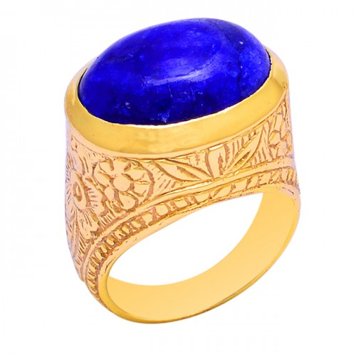 Oval Shape Blue Sapphire Gemstone 925 Sterling Silver Gold Plated Ring