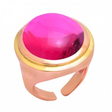 925 Sterling Silver Pink Tourmaline Quartz Gemstone Gold Plated Ring