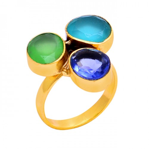 Oval Shape Chalcedony Quartz Gemstone 925 Sterling Silver Gold Plated Ring