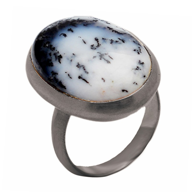 Oval Shape Dendrite Opal Gemstone 925 Sterling Silver Gold Plated Ring Jewelry