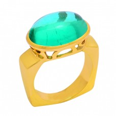 925 Sterling Silver Apatite Quartz Gemstone Gold Plated Designer Ring