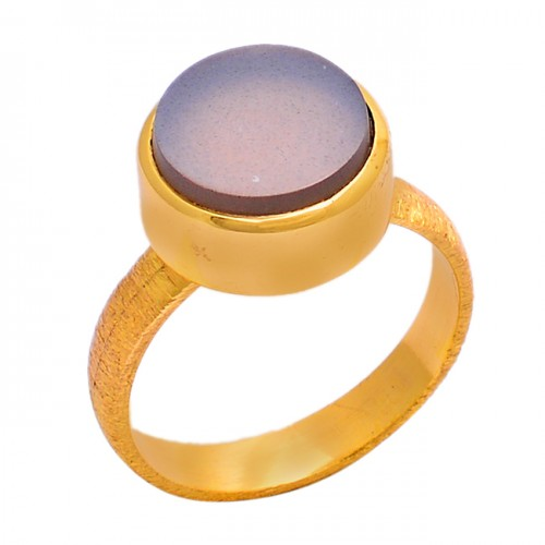 Round Shape Smoky Quartz Gemstone 925 Sterling Silver Gold Plated Ring