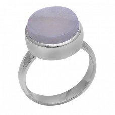 Round Shape Aqua Chalcedony Gemstone 925 Sterling Silver Ring Jewelry