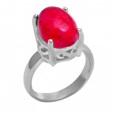 Cabochon Oval Shape Ruby Gemstone 925 Sterling Silver Ring Jewelry
