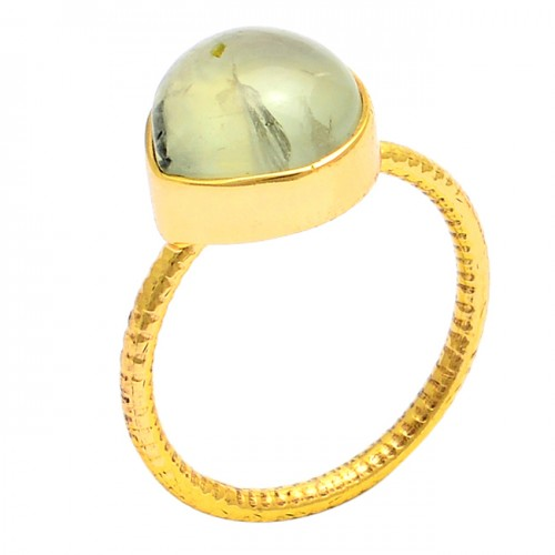 Round Shape Prehnite Chalcedony Gemstone 925 Silver Gold Plated Ring