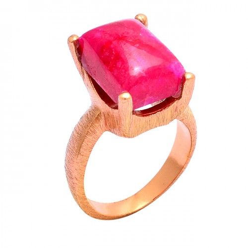 925 Sterling Silver Rectangle Shape Ruby Gemstone Rose Gold Plated Ring