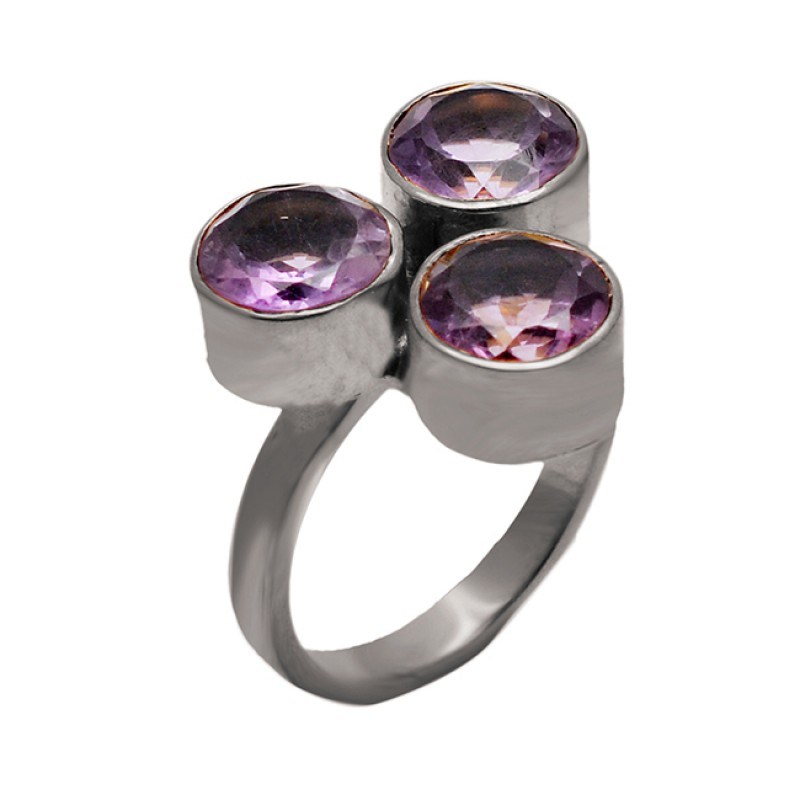 Round Shape Amethyst Gemstone 925 Sterling Silver Gold Plated Ring Jewelry