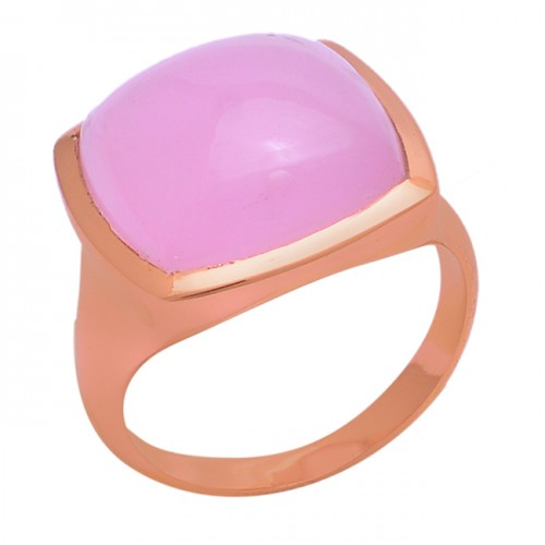 Square Shape Rose Chalcedony Gemstone 925 Silver Rose Gold Plated Ring
