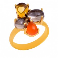 Citrine Carnelian Smoky Quartz Gemstone 925 Sterling Silver Gold Plated Ring