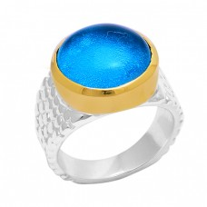 Round Shape Tanzanite Quartz Gemstone 925 Silver Gold Plated Ring