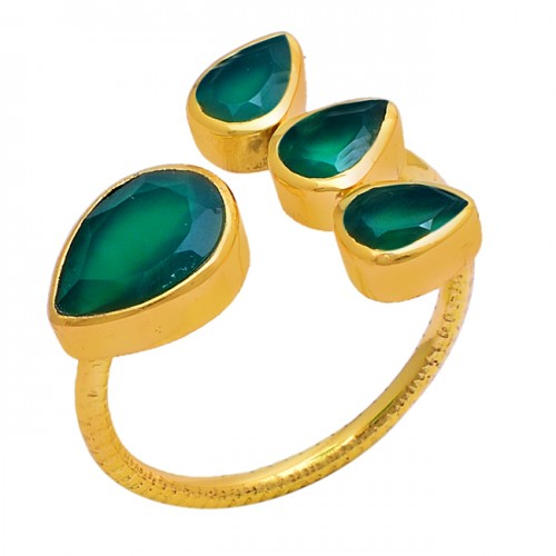 Pear Shape Green Onyx Gemstone 925 Sterling Silver Gold Plated Ring