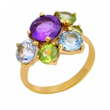 Amethyst Blue Topaz Peridot Gemstone 925 Sterling Silver Gold Plated Ring