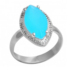 Marquise Shape Aqua Chalcedony Gemstone 925 Silver Cocktail Ring