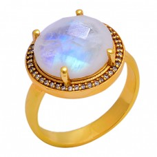 925 Sterling Silver Rainbow Moonstone Gold Plated Cocktail Ring Jewelry