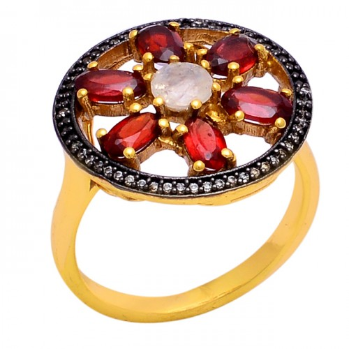 Garnet Rainbow Moonstone 925 Sterling Silver Gold Plated Ring Jewelry