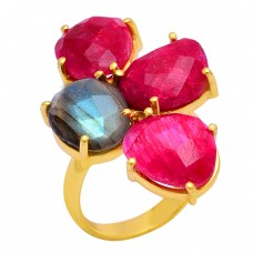 Ruby Labradorite Gemstone 925 Sterling Silver Gold Plated Designer Ring