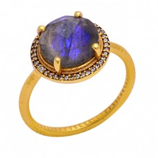 Prong Setting Labradorite Gemstone 925 Sterling Silver Gold Plated Ring