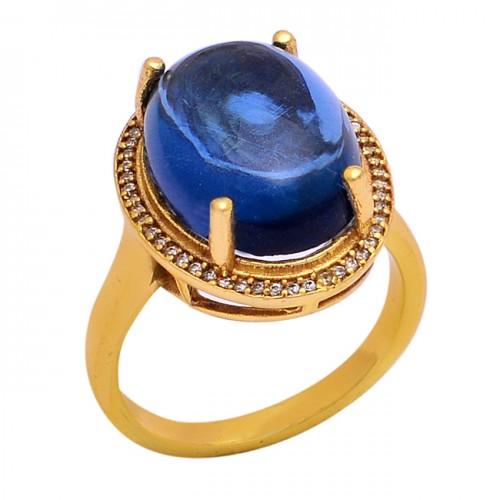 Cabochon Oval Shape Tanzanite Quartz Gemstone 925 Silver Ring Jewelry