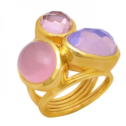 925 Sterling Silver Round Oval Shape Gemstone Gold Plated Ring Jewelry