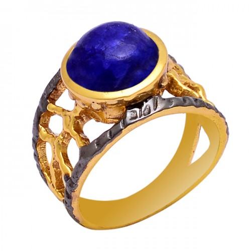 925 Sterling Silver Lapis Lazuli Gemstone Gold Plated Designer Ring