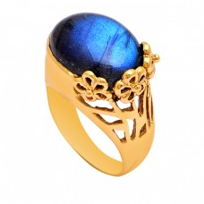 Oval Shape Labradorite Gemstone 925 Sterling Silver Gold Plated Ring