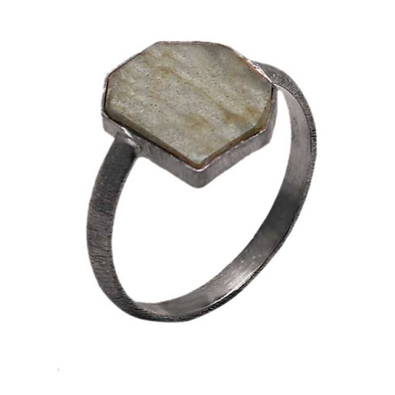 Fancy Shape Labradorite Gemstone 925 Sterling Silver Gold Plated Ring Jewelry
