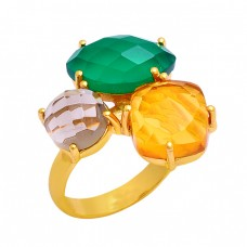 Green Onyx Smoky Quartz Citrine Gemstone 925 Silver Gold Plated Ring