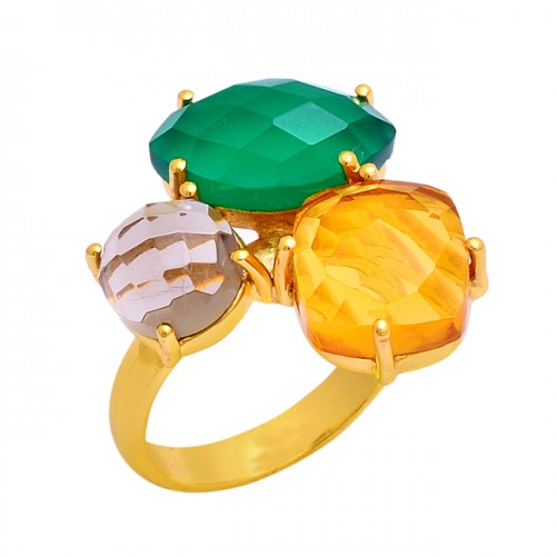 Green Onyx Smoky Quartz Citrine Gemstone 925 Silver Gold Plated Ring