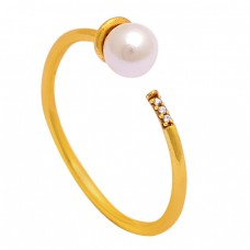 Round Shape Pearl Gemstone 925 Sterling Silver Gold Plated Ring Jewelry