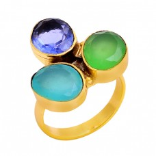 925 Sterling Silver Oval Shape Gemstone Gold Plated Designer Ring Jewelry